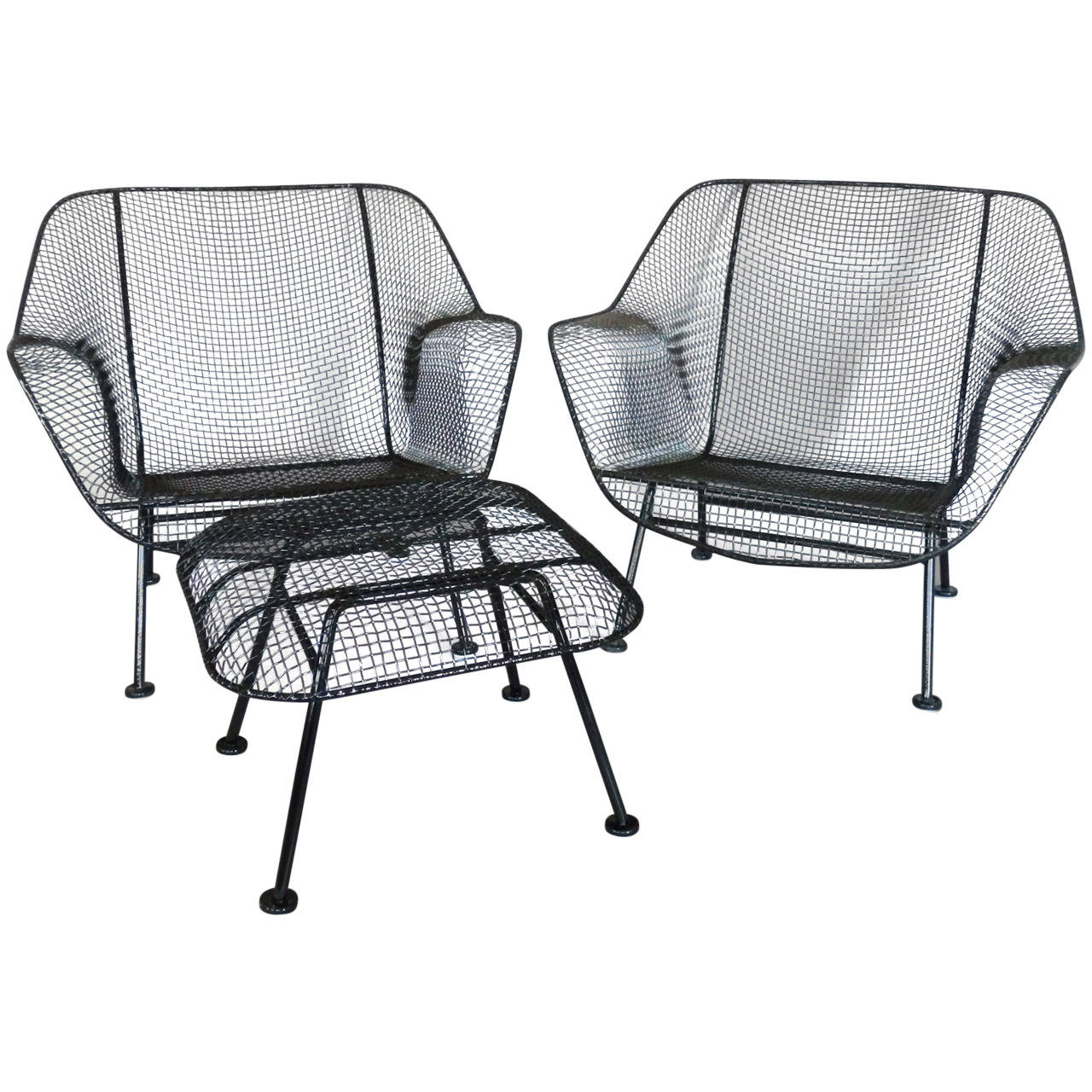 Pair of woodard wrought iron with mesh lounge chairs at for Woodard outdoor furniture