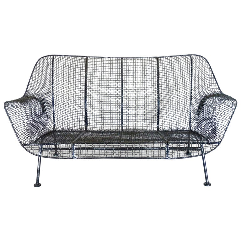 Woodard Wrought Iron with Mesh Settee For Sale