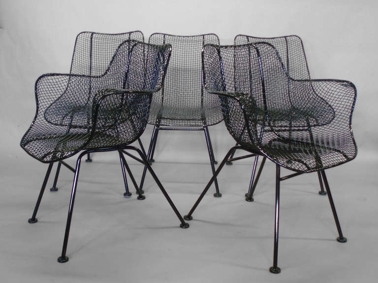 Set Of Six Wrought Iron With Mesh Dining Chairs By Rus Woodard For Company Armchairs