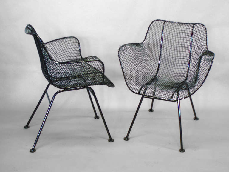 Six Wrought Iron With Mesh Dining Chairs By Russell