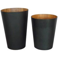 Tall Ebonized Walnut Waste Basket