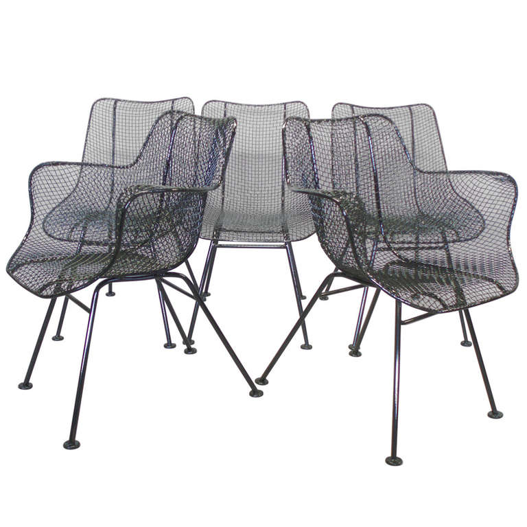 Nice Six Wrought Iron With Mesh Dining Chairs By Russell Woodard 1