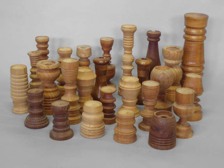 Collection of  26 Assorted Studio Turned Wood Candle Stands Tall of 18