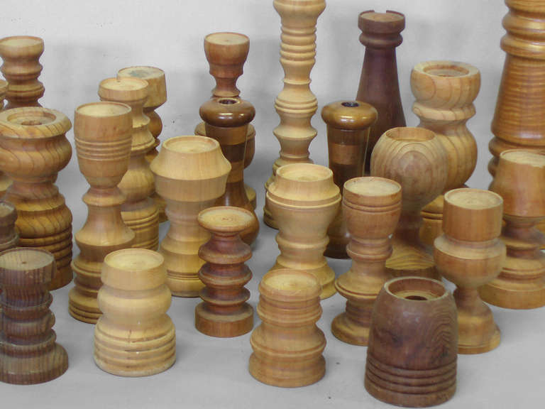 Mid-Century Modern Collection of  26 Assorted Studio Turned Wood Candle Stands For Sale