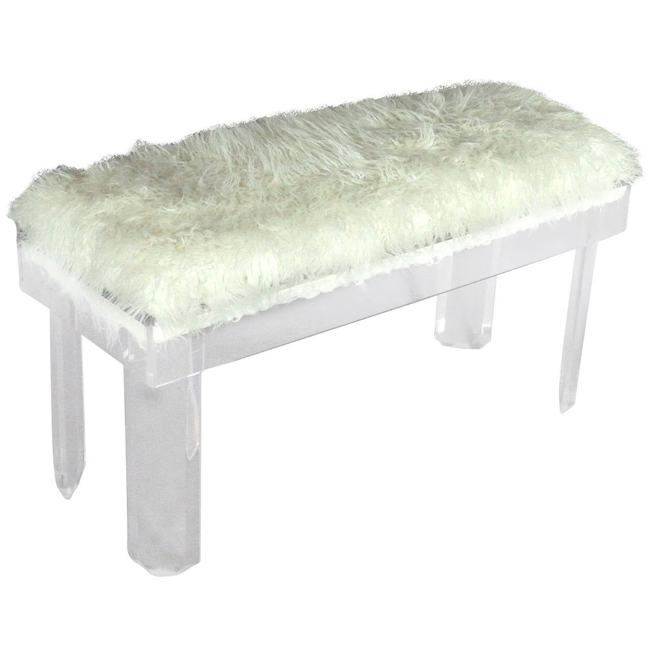 Faux Sheepskin Covered Lucite Bench For Sale