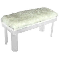 Faux Sheepskin Covered Lucite Bench