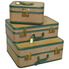 Wonderful Three Piece set of 1940's Leather Trimmed Luggage