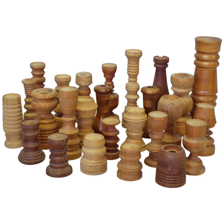 Collection of  26 Assorted Studio Turned Wood Candle Stands For Sale