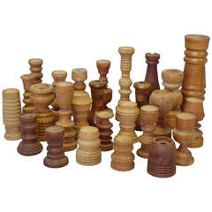 Collection of  26 Assorted Studio Turned Wood Candle Stands