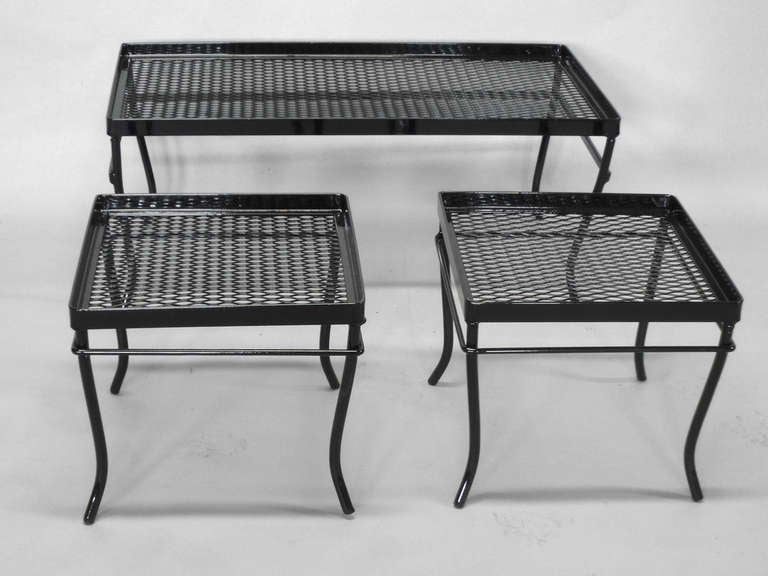 Nest Of Wrought Iron And Mesh Tables By Russell Woodard Company 2