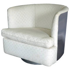 Swivel and Tilting Milo Baughman Stainless Steel Back Barrel Chair