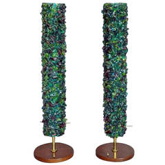 Pair of Acrylic Rock Nugget Tower Table Lamps