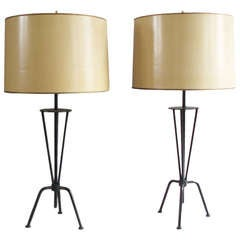 Pair of Wrought Iron Base Lamps Style of Greta Grossman
