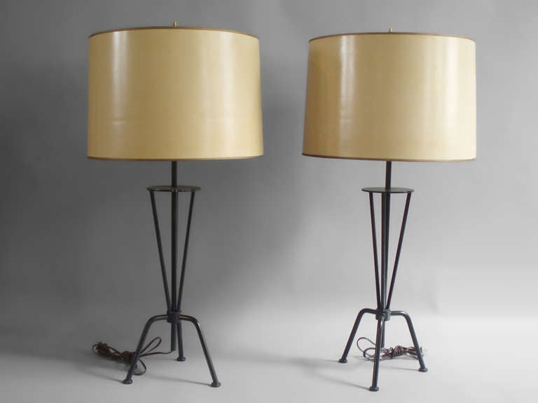 pair of wrought iron base lamps style of greta grossman at. Black Bedroom Furniture Sets. Home Design Ideas