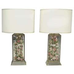 Pair of Sea Shell Flower Specimen Lamps by Cruz Lamp Co.