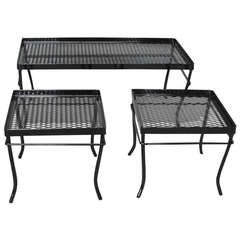 Nest Of Wrought Iron And Mesh Tables By Russell Woodard Company