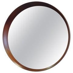 Round Asymmetric Frame Danish Wall Mirror Attributed to Pedersen Hansen