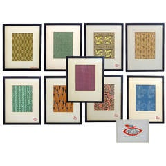 Series of Nine Modernist Gouache Studies for Textile and Wallpaper