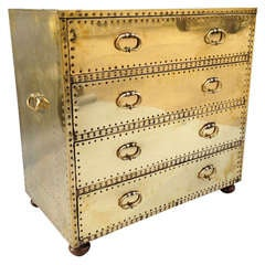 Polished Brass Clad Chest of Drawers by Sarreid Co.