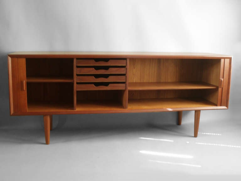 Tambour Front Teak Credenza by Sven Aage Larsen at 1stdibs