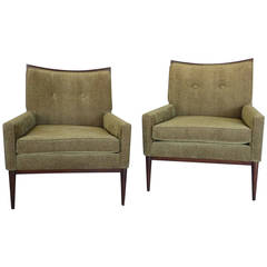 Magnificent Pair of Paul McCobb Walnut Frame Lounge Chairs