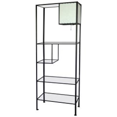 Frederick Weinberg Iron and Glass Shelf Unit with Lamp