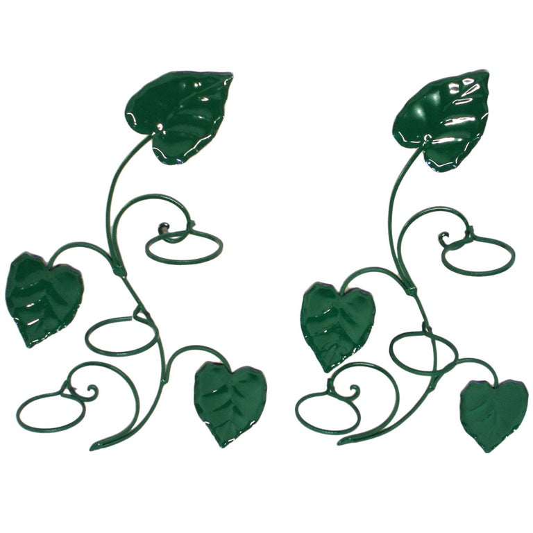 Pair Of Wrought Iron Climbing Vine Wall Planters Possibly By Woodard For