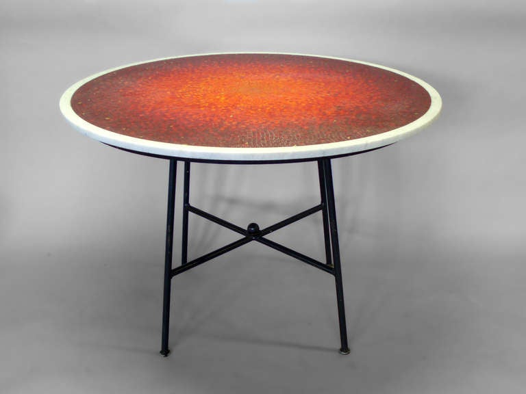sunburst mosaic marble top dining table attributed to