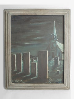 """Oil on Board Halloween feature """"Midnight in the Church Cemetery"""""""