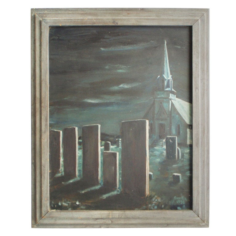 Oil On Board Midnight In The Church Cemetery For Sale At 1stdibs
