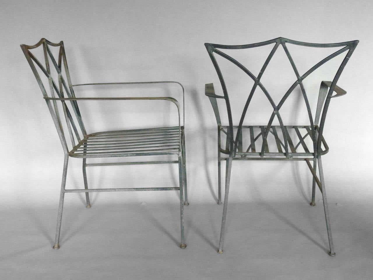 Pair Of Elegant Salterini Wrought Iron Chairs With Table At 1stdibs