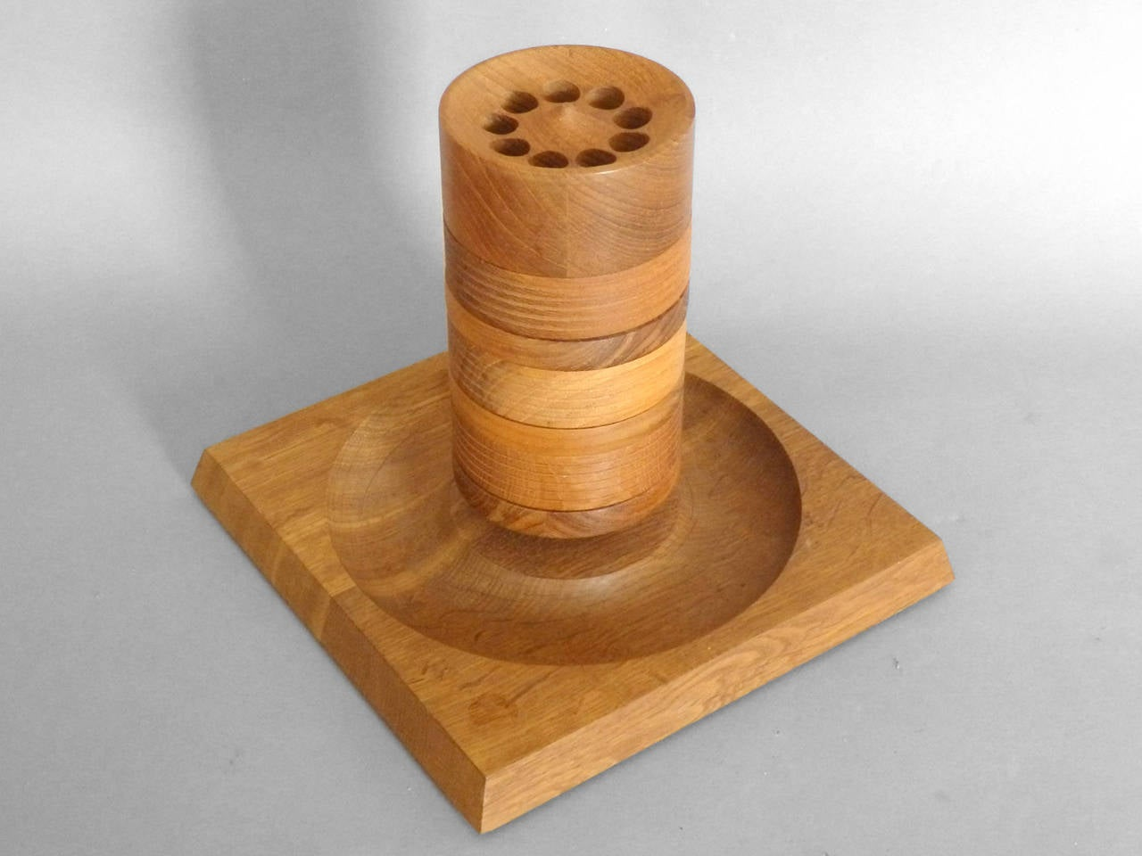Turned Wood Danish Teak Tower Game by Skjode Skjern Base 9.5  Wide x 9.5  Deep x 8 Tall -  Column 3.75 Diameter There are some balls missing from the game .