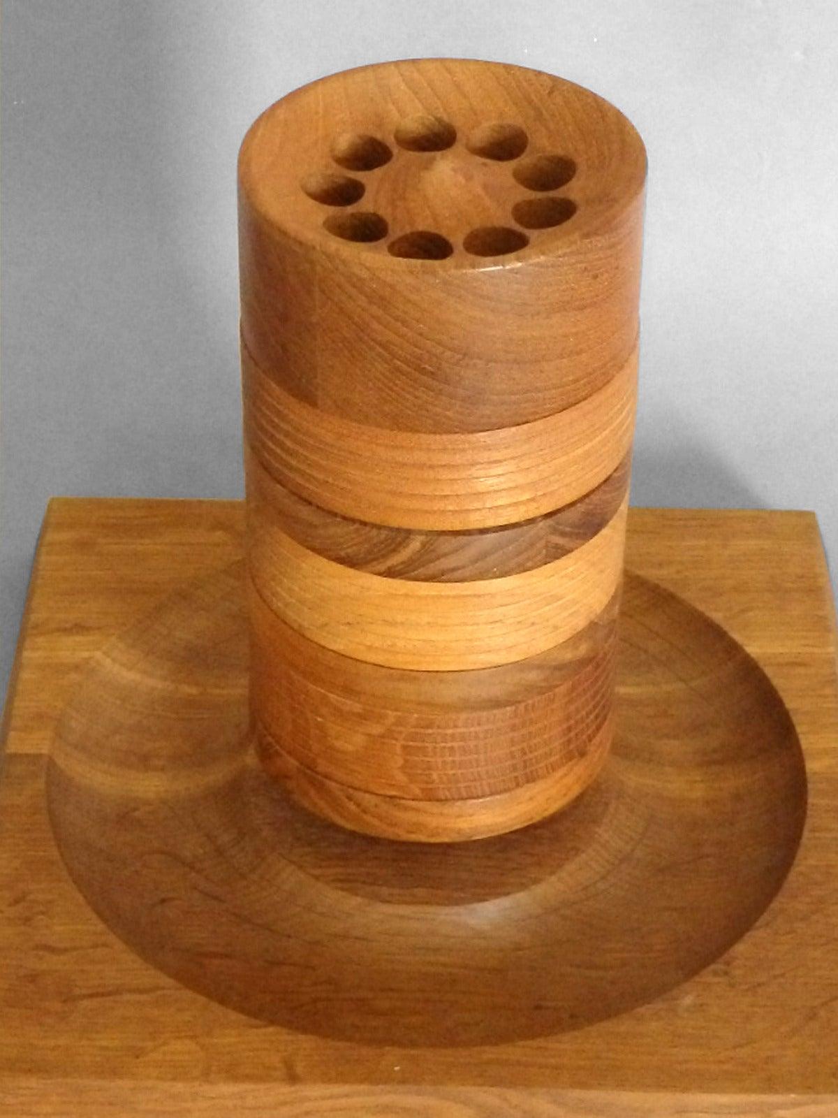 Mid-Century Modern Turned Wood Danish Teak Tower Game by Skjode Skjern For Sale
