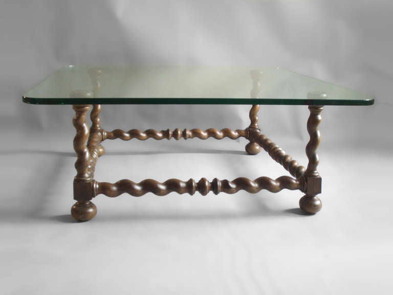 Twist Carved Wood With Glass Top Coffee Table 3