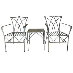 Pair of Elegant Salterini Wrought Iron Chairs with Table