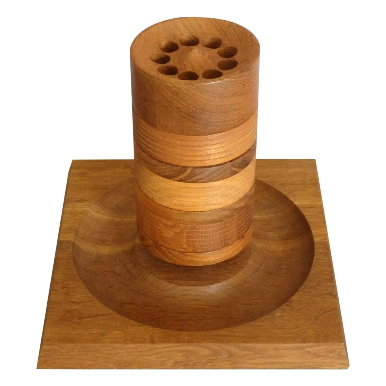 Turned Wood Danish Teak Tower Game by Skjode Skjern For Sale