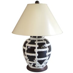 Black and white table lamp nwith faux bamboo design