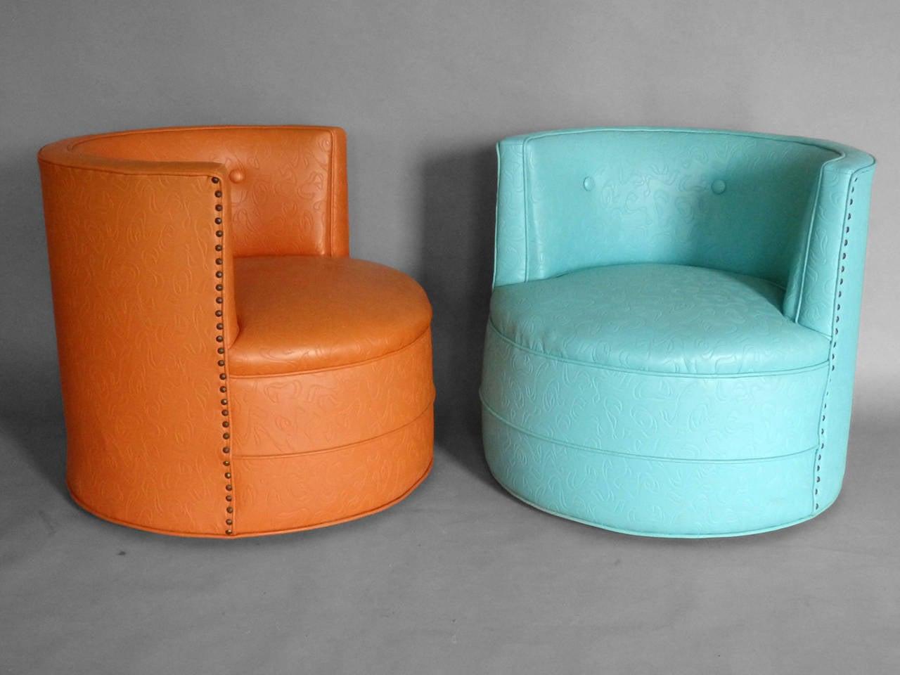 American Three Barrel Back Swivel Lounge Chairs For Sale