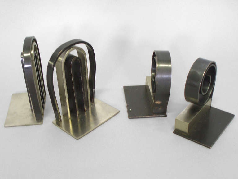 Brushed Two Pairs Chase Machine Age Modernist Bookends For Sale