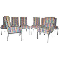 Set of Eight Paul Evans Style Chrome Base Dining Chairs