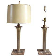 Pair of Torch Theme Bronze on Marble Table Lamps by The Chapman Company