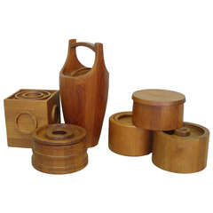 Collection of Six Danish Teak Ice Buckets by Jens Quistgaard