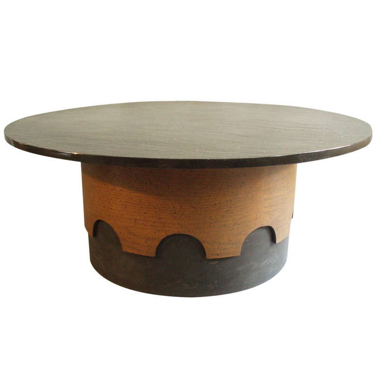 Walnut base slate top round coffee table by adrian pearsall at 1stdibs Slate top coffee tables