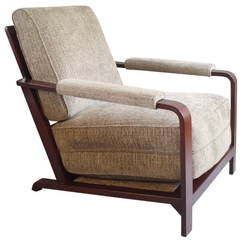 Wood Frame Machine Age Lounge Chair by Gilbert Rohde For Sale