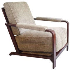Wood Frame Machine Age Lounge Chair by Gilbert Rohde