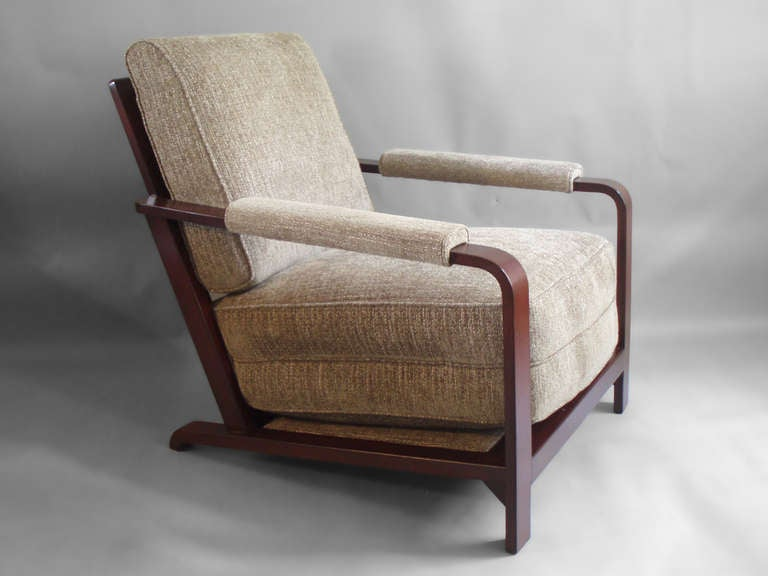Wood frame Machine Age lounge chair by Gilbert Rohde for Herman Miller.