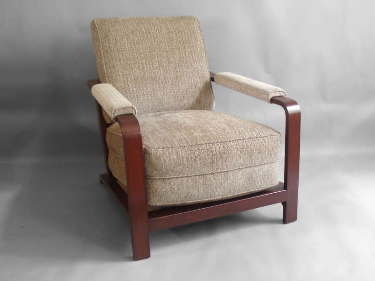 Art Deco Wood Frame Machine Age Lounge Chair by Gilbert Rohde For Sale