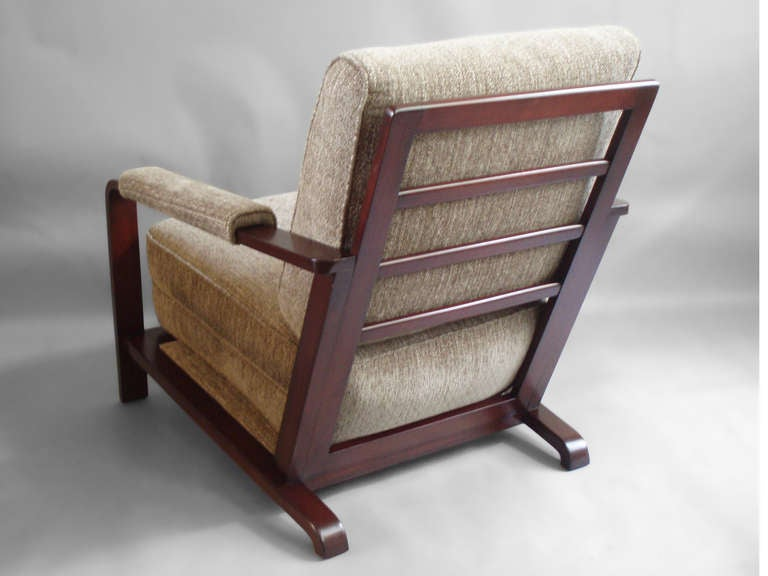 American Wood Frame Machine Age Lounge Chair by Gilbert Rohde For Sale