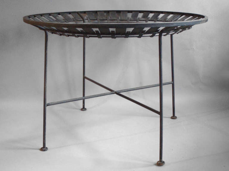 Round Wrought Iron Dining Table by Salterini For Sale at 1stdibs
