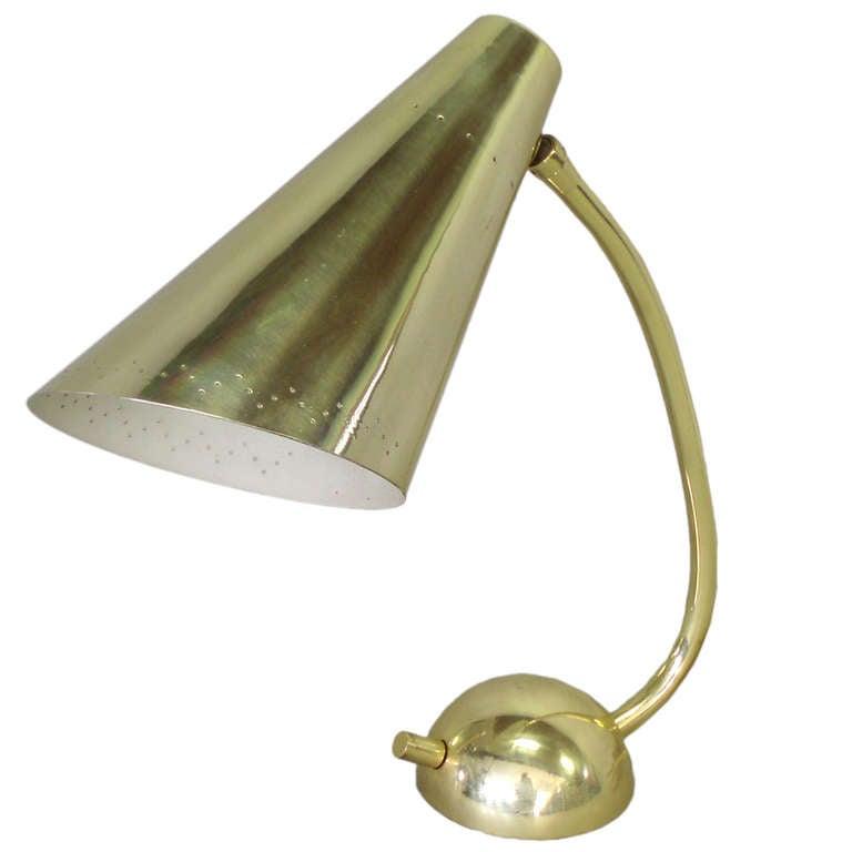 Weighted Base Brass Desk Lamp By Kurt Versen For